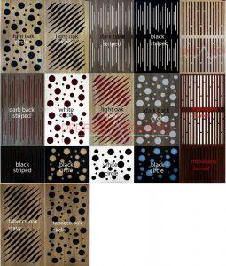 Akustisk panel med diffuser colos og type