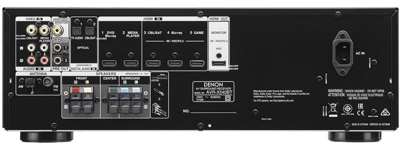 Bagsiden på AVR-X540BT-modtageren