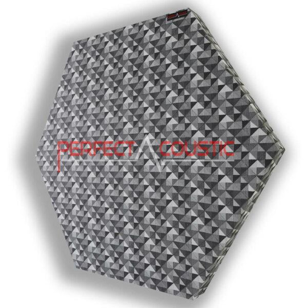 Mønstret sekskantet akustisk panel rutet