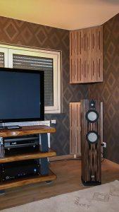 diffusor akustikpaneler, lydabsorberende panel, basfælde med diffusor foran.