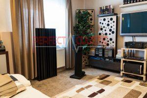 stue med akustiske paneler